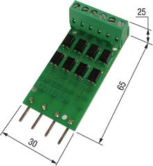 ПДИ5-4. Платы подключения к дискретным входам ОВЕН ПЛК100, ПЛК150, ПЛК154 уровней TTL (0–5 В)